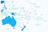 Australia and Oceania detailed map blue colors. All elements are separated in editable layers clearly labeled.