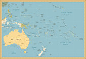 Australia and Oceania detailed political map vintage colors. All elements are separated in editable layers clearly labeled.