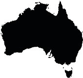 Australia black map on white background vector
