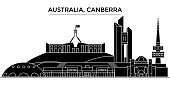 Australia, Canberra architecture vector city skyline, black cityscape with landmarks, isolated sights on background