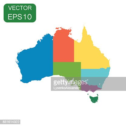 Australia color map with regions icon. Business cartography concept Australia pictogram. Vector illustration on white background. : stock vector