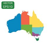 Australia color map with regions icon. Business cartography concept Australia pictogram. Vector illustration on white background.