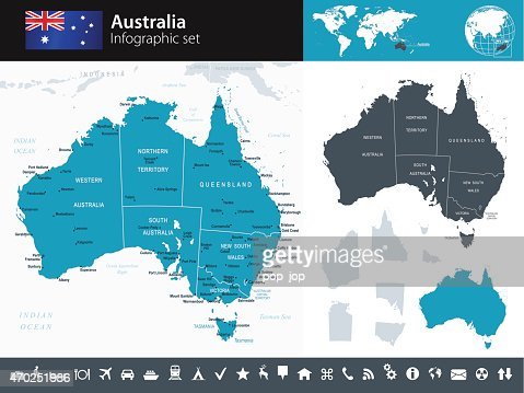 Australian Map States Vector Art Getty Images - Australia map infographic