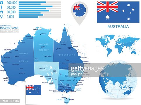 Australia Map Infographic Vector Art Getty Images - Australia map infographic