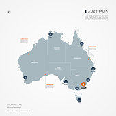 Australia map with borders, cities, capital Canberra and administrative divisions. Infographic vector map. Editable layers clearly labeled.