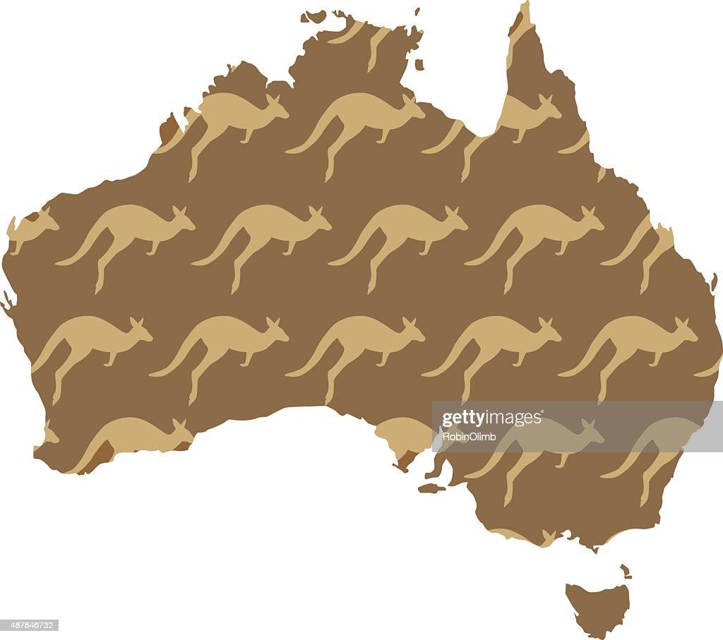 Australia Kangaroo Map Vector Art Getty Images - Australia map kangaroo