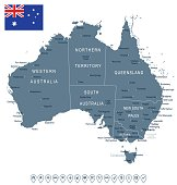 Australia map and flag - highly detailed vector illustration