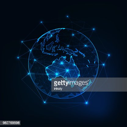 Australia map continent outline on planet Earth view from space abstract background. : stock vector
