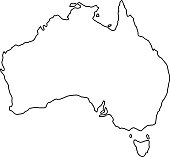 Australia map of black contour curves of vector illustration