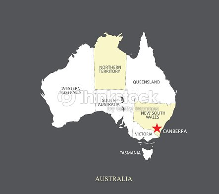 Australia Map Outline Vector.Australia Map Outline Vector Illustration With Provinces Borders And