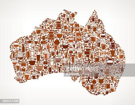 オーストラリアマップロイヤリティフリーのベクターグラフィックコーヒーの背景 : ベクトルアート