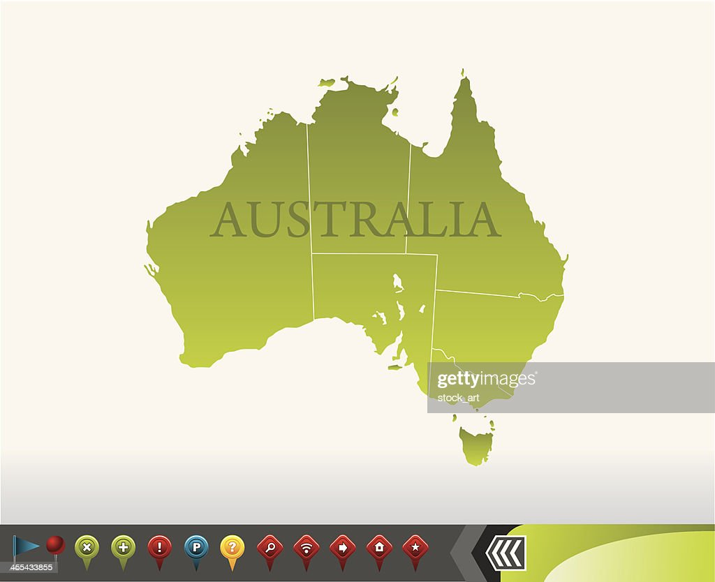 australien karte mit navigation symbole vektorgrafik. Black Bedroom Furniture Sets. Home Design Ideas
