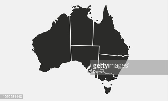 Australia map with regions isolated on a white background. Australian map. Vector illustration : stock vector