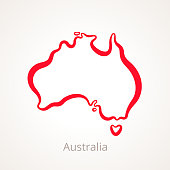 Outline map of Australia marked with red line.