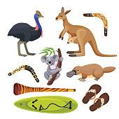 Australia symbols set isolated on white. Flightless bird ostrich, koala on tree branch, kangaroo with joey, surfboard and two boomerangs, duck-billed platypus, didgeridoo wind instrument vector