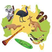 Australia symbols set isolated on map. Koala and kangaroo, sport activities surfboard and boomerang, flightless bird ostrich, duck-billed platypus, didgeridoo wind instrument vector illustration