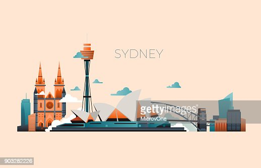 Australia travel landmark vector landscape with Sydney opera and famous buildings : stock vector