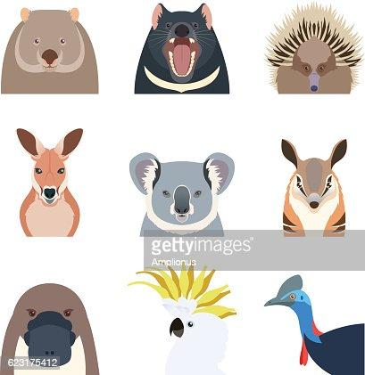 Australian animals flat icons : Arte vettoriale