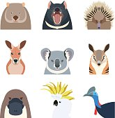 Vector image of the Australian animals flat icons