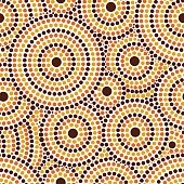 Australian tribes dot pattern vector seamless. Aboriginal art background with concentric circles. Tribal print for fabric, surface design, wrapping paper or template.