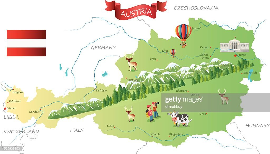 Austria Map Vector Art Getty Images - Graz austria map