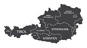 Austria Map with states and labelled black