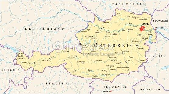 Austria Political Map Vector Art Thinkstock - Political map austria