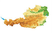 Highly detailed physical map of  Austria in vector