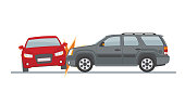 Auto accident involving two cars, isolated on white background. Vector illustration.