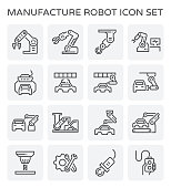Robot working with auto production line icon set.