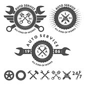 Auto service labels emblems and logo elements in vector