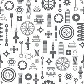 Auto spare parts seamless pattern on white background