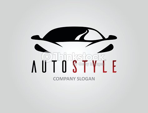 Auto Style Car Logo Design With Concept Sports Vehicle Silhouette