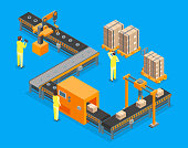 Automated Factory Conveyor, Production 3d Isometric View on a Blue Background with Process Line and People. Vector illustration