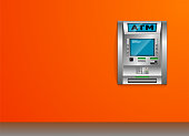 ATM - Automated teller machine. Orange wall. Metal construction. High detail. 3D