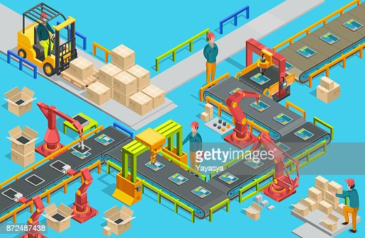 Automatic factory with conveyor line and robotic arms. Assembly process. Vector illustration : Arte vettoriale