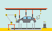 automatic production line for industrial automobile production vector illustration