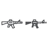 Automatic rifle line and glyph icon, army and war, gun sign, vector graphics, a linear pattern on a white background, eps 10.