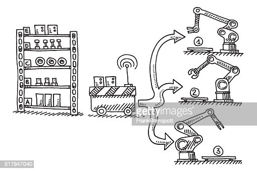 Automatic Supply Semifinished Parts Assembly Line Drawing ...