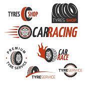 Automobile rubber tire shop, car wheel, racing vector logos and labels set. Automobile maintenance service, illustration of auto service logo garage