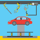automotive industry car on platform hydraulic robotic arm welding vector illustration