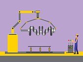 automotive industry mechanic with control robotic arm cam tree part vector illustration