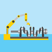 automotive industry robotic arm with cam tree part vector illustration
