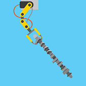 automotive industry robotic arm with connecting rod vector illustration