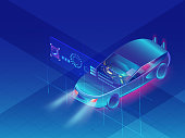 Autonomous  car on shiny blue background, Futuristic Automotive technology.