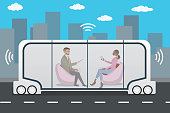 autonomous car or bus and internet of things iot concept self-driving car,futuristic city transport with passengers,vector illustration