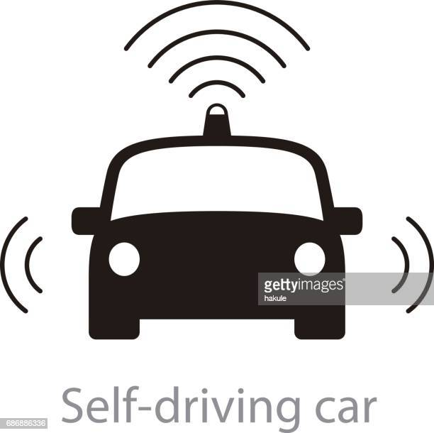 Autonomous self-driving car, front view with radar flat icon