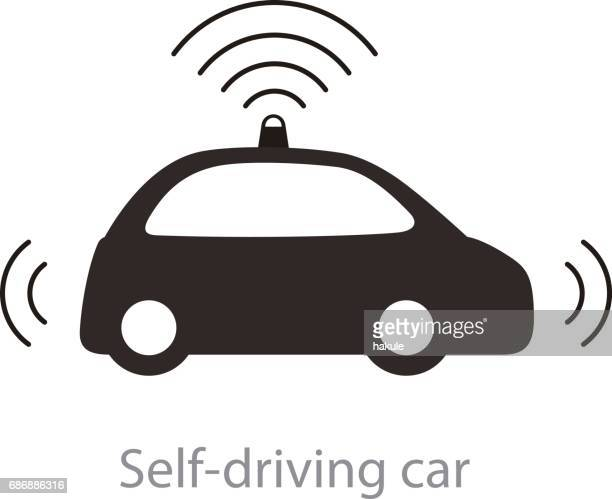 Autonomous self-driving car, side view with radar flat icon