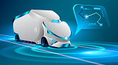 Autonomous truck drive on the road. Unmanned vehicles. artificial intelligence controls the Autonomous truck. car ' locus insignis in an interactive map, gps system. Future concept car.