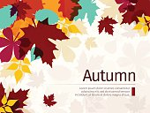 Autumn background with leaves. Flat Design Style.